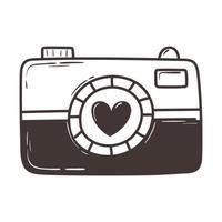 photo camera love romantic heart doodle icon design vector