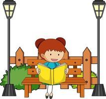 Cute girl reading book doodle cartoon character vector