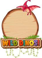 Empty board template with cute dinosaur cartoon character on white background vector