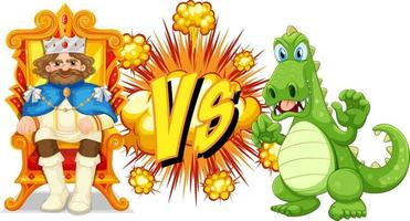 Dragon and king fighting each other on white background vector