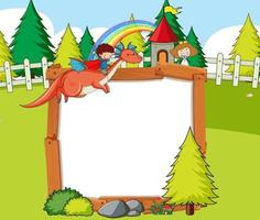 Blank banner in the forest scene with fairy tales cartoon character and elements vector