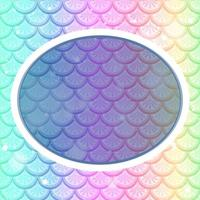 Oval frame template on pastel rainbow fish scales background vector