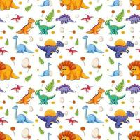 Seamless pattern with various cute dinosaurs on white background vector