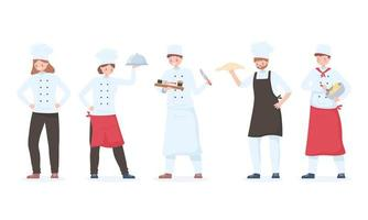 chef characters set, cartoon restaurant staff with tray and different meals vector