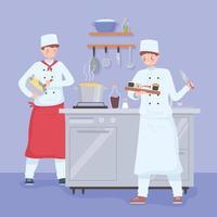 cartoon restaurant chefs preparing meal and desserts vector