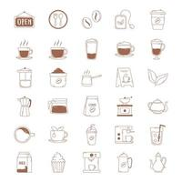 coffee icons cup kettle teapot bean machine in brown line vector