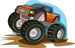 orange monster truck jam hand drawing vector