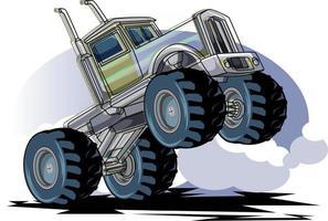 jumping big monster truck off road illustration vector