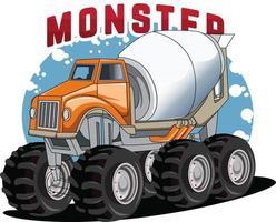 fantasy truck monster cement mixer vector