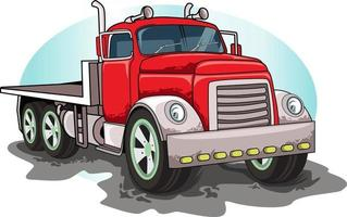 red classic big truck vector hand drawing vector