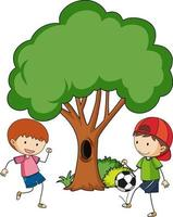 Two kids playing football with a big tree isolated vector