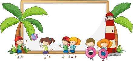 Empty banner with many kids in beach theme isolated vector