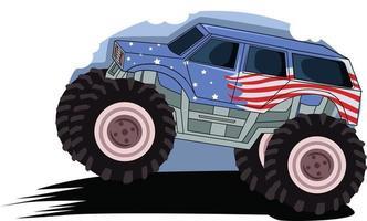 monster truck in the soil vector