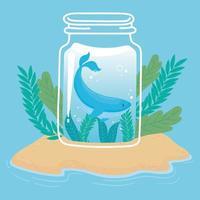 jar cute tiny whale water on island sand ocean cartoon vector