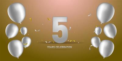 Silver anniversary template design banner vector