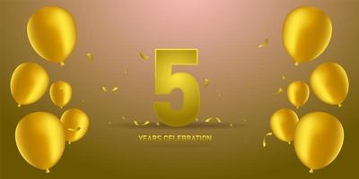 Golden anniversary template design banner website and social media vector