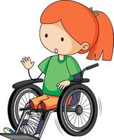 Doodle cartoon character of a girl sitting on a wheelchair vector