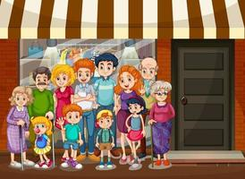 City scene with happy family standing in front of shopping store vector