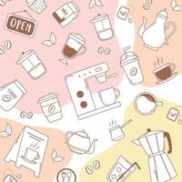 coffee machine frappe latte moka pot kettle and beans pink background vector