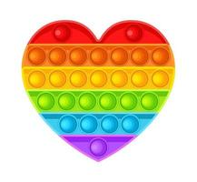 Pop It fidget heart. Antistress. Toy icon, trend. Vector illustration isolated on white background