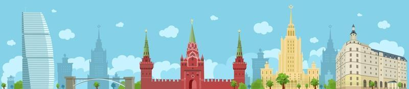 Panorama of Moscow with the Kremlin, the Stalinist skyscraper, a hotel. Sights of Moscow. Vector flat illustration