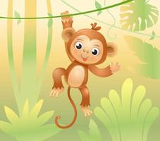 The monkey jumps on branches and vines. Cheerful monkey. Animals in the jungle. Joyful monkey. Vector illustration