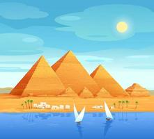 The pyramids of Egypt. Egyptian pyramids on the river. The Cheops Pyramid in Cairo, in Giza. Egyptian stone structures. Vector illustration