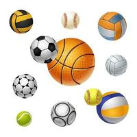 Sports icons. Balls of different sports. Football, basketball, baseball, volleyball, golf. Icon set. Vector isolated illustration