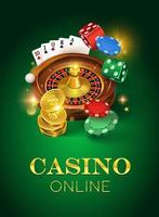 Online casino on a green background. Dice, gold coins, cards, roulette and chips. Vector illustration of a vertical format