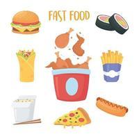 fast food, chicken in box, sushi burrito french fries burger soda hot dog vector