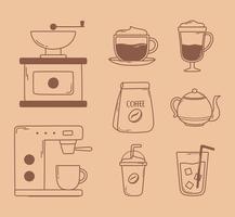 máquina de tostado manual de café hervidor frappe iconos frescos fríos en línea marrón vector