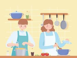 female and male chef in preparing dinner together vector