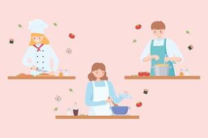 professional chefs, man and woman chef in restaurant or home vector