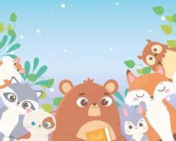 cute bear rabbit fox owl raccoon cat and hamster leaves foliage cartoon animals vector