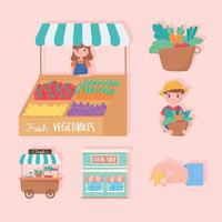 support small business, local shop farmers fresh vegetables icons vector