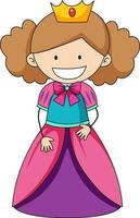 Simple cartoon character of a little princess isolated vector
