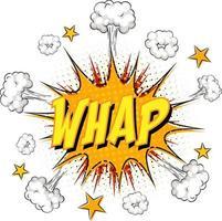 whap texto sobre explosión de nube cómica aislado sobre fondo blanco vector