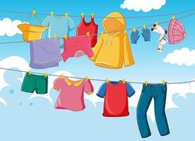 Cloyhes drying outdoor scene vector