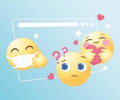 funny emoji emoticon reactions social media vector