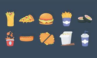 fast food, burrito pizza burger french fries sushi soda chicken hot dog icons vector