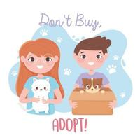 adopt a pet, girl with white cat and boy with dog in box vector