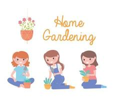 home gardening, set of girls with plants in pot and shovel vector
