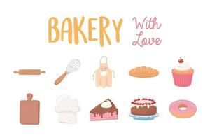 bakery with love icons donut cake cupcake bread and utensils vector