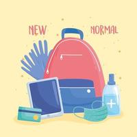 new normal, backpack with gloves mask gel sanitizer and mobile vector