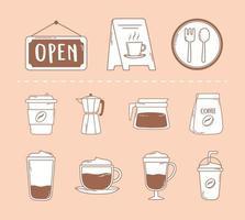 paquete de restaurante de café tazas de olla moka e icono de frappé en línea marrón vector