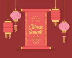 Desplácese y linternas colgantes diseño de color de decoración de elementos orientales vector