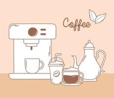 coffee machine frappe kettle and cappuccino in brown line vector