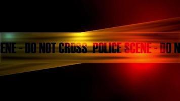 la ligne de police ne traverse pas les sirènes de police en arrière-plan. bande d'avertissement avec une voiture de police video
