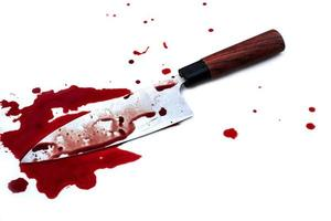 Kitchen knife bloody on white background photo