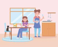 daily routine scene, woman and daughter eating healthy food of breakfast vector